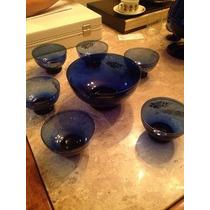 Jogo Para Sobremesa 7 Peças/vidro Azul
