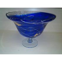 Grande Fruteira- Centro De Mesa Em Vidro Grosso Azul Cobalto