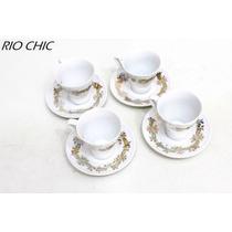 Jogo 4 Xicaras Cafe Filetada A Ouro Porcelana Schmidt Cchic