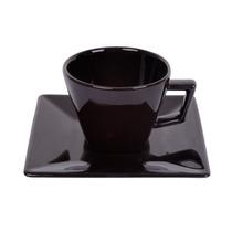 Xicara Chá Com Pires Quartier Black 200ml Oxford