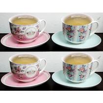 Jogo De Xicara De Chá Porcelana 4 Pç Decorado C/pires 220ml
