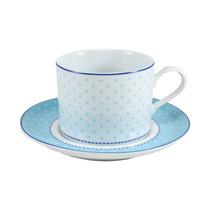 Xícara De Chá Maitê Schmidt Porcelana Azul Bolinha 200ml