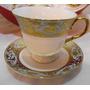 Jogo De Xícaras Em Porcelana Estampa Azul E Dourado