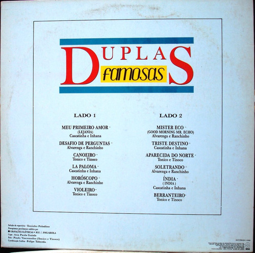 Lp Duplas Famosas - Duplas Sertanejas 1988 Som Livre Estéreo
