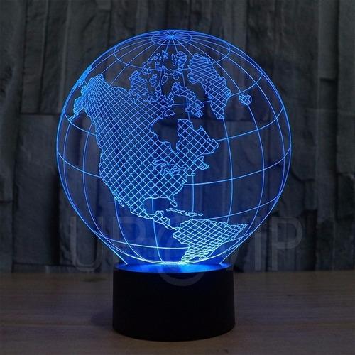 Lumin ria abajur mapa mundi globo led efeito 3d veja video for Mesa cristal mapamundi