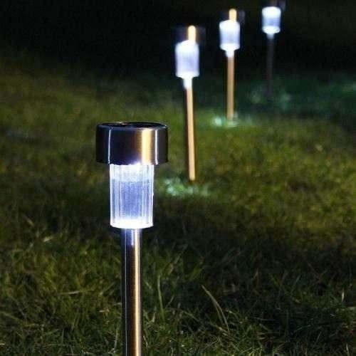 iluminacao de jardim energia solarLuminária Solar Em Inox Energia