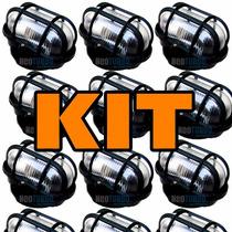 Kit 10 Luminária Externa Tartaruga De Vidro Mais Lampada Led