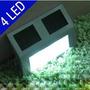 2 Luminárias Energia Solar 4 Led Aço Inox Muro,escada Parede