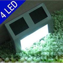 Luminária Energia Solar 4 Led Aço Inox Muro, Escadas Paredes