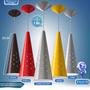 Kit 9 Pendente Cone Led Alumínio Escovado Com Lâmpada Cores
