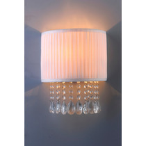 Luminária Arandela Cristal Bronzearte Vogue E27 Cúpula Tecid