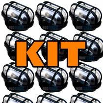 Kit 7 Luminária Tartaruga Aço+ Vidro P/ Teto Parede Exterior