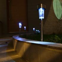 Luminária Solar De Jardim Em Inox / 24 Peças + Frete Grátis