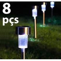 Luminária Solar De Jardim Em Inox / 8 Peças + Frete Grátis