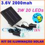 Kit Solar C/ 2lamp Led Placa Bateria 3.6v 2mha Frete Grátis