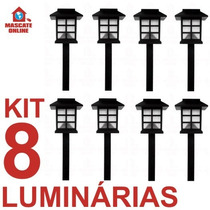 Kit 8 Luminárias Solares Led Oriental Japonesa. Poste Jardim