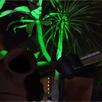 Luminária Solar Jardim Spot Refletor Luz Verde Kit 8 Peças