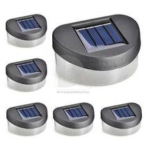 06 Pçs Kit Luminária Solar 4 Leds Para Paredes,muros,escadas