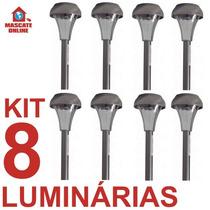 Kit 8 Luminárias Solares Em Inox. Poste Luz Baliza Jardim