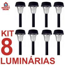 Kit 8 Luminária De Energia Solar. Poste Luz Baliza Jardim