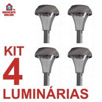 Kit 4 Luminárias Solares Em Inox. Poste Luz Baliza Jardim
