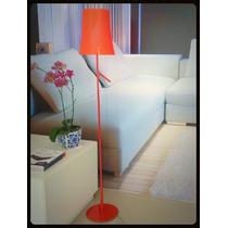 Abajur Coluna De Chão Moderno Vermelho Para Sala Ou Quarto