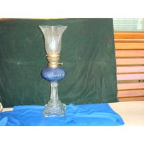 Lampião Antigo C/ Bojo Azul E Canopla De Época