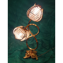 Luminária Em Cristal E Bronze Com Forma De Tulipas Anos 70