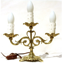 Castiçal Candelabro Elétrico Em Bronze Para 3 Lâmpadas