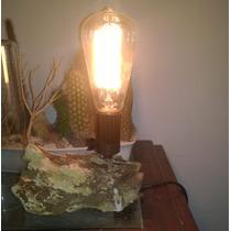 Luminária De Madeira Bruta + Lâmpada Filamento Carbono