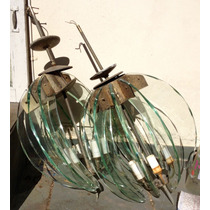 Par De Lustres Anos 70 Metal Com Vidro Usado