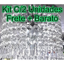 Kit C/ 2 Lustres Sala Cristal Acrílico Redondo P/1 Lâmpada