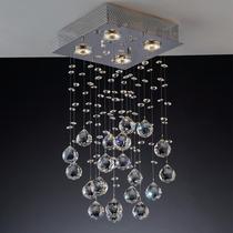 Lustre Plafon Cristal Brilhante Quadrado 4 Lamp. Alto Brilho