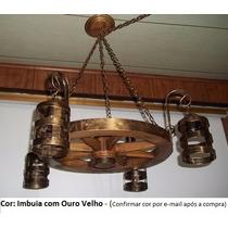 Lustre Rustico Roda Em Madeira 50cm C/ 4 Bocais De Ferro