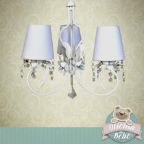 Lustre Luminaria Flor Menina 3 Lampadas Cristal Provensal