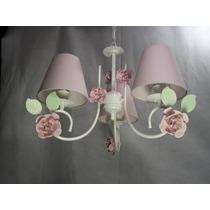 Lustre Luminária Quarto De Bebe Com 6 Flores - O Mais Lindo