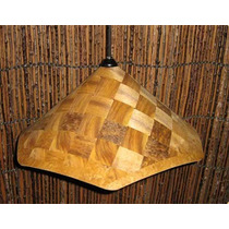 Luminária Rústica Artesanal Sextavada, Em Madeira 50x25cm