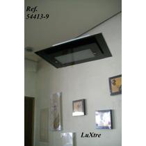 Lustre, Plafon, Alumíno Branco, Vidro Retangular Preto..3007