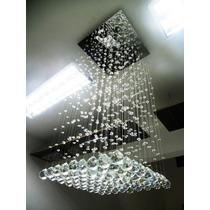 Lustre De Cristal Pendente Base Inox Kasa In