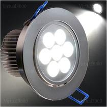 Spot 7w Led Super Brilho De Embutir Em Aluminio Escovado