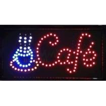 Placa Quadro Led Letreiro Luminoso Painel Café 48x25cm