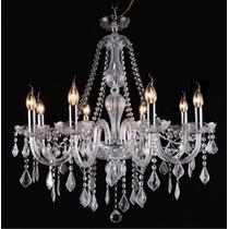 Lustre De Cristal Maria Tereza 8 Braços Transparente - Adn+