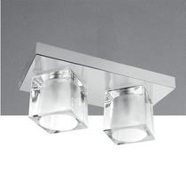 Plafon Duplo Vidro Cristal Cubo Para Sala Quarto - Golden