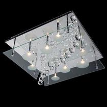 Lustre Plafon Quadrado Led Cristal Cont Remoto 220v Luminart