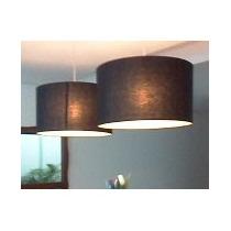 Pendente Tecido 55cm Luminária De Teto Lustre Cupula Preta