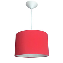 Luminária Pendente Cilíndrica Tecido Vermelho 30cm