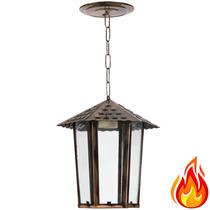 Pendente Luminária Colonial Cobre De Teto - Em Aço E Vidro