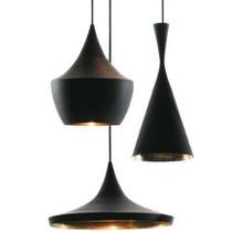 Pendente Luminária Ton Dixon Beat Design Preto Dourado Td900