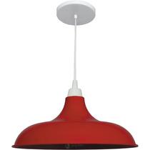 Pendente Prato Vermelho Luminária Lustre Colorido