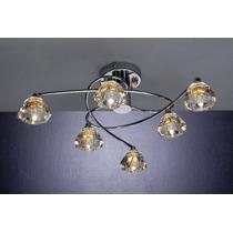 Lustre Para Sala Bronzearte Âtomo 6 Luzes G9 - Difusor Vidro